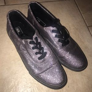 ASOS silver Glitter lace up sneakers black size 11